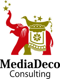 メディアデココンサルティングのロゴ 九貢の象、宝物を運んでくる象さんです。皆さまに宝物を届けていくのがメディアデココンサルティングのミッションです